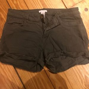 H&M Rolled Cuff Denim Shorts- Olive Green
